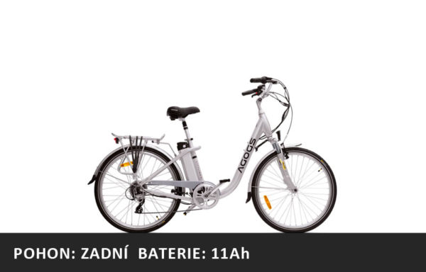 Městské elektrokolo Agogs Cityliner Easy 2020 stříbrný – pláště 26″