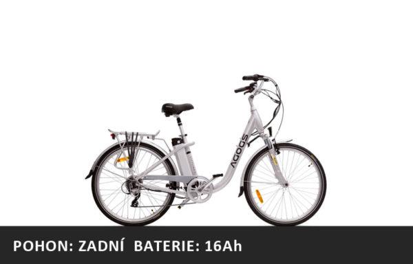 Městské elektrokolo Agogs Cityliner Easy 2020 stříbrný – pláště 26″ – XL baterie 16Ah