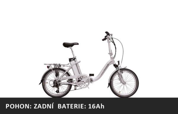 Skládací elektrokolo Agogs Lowstep 2020 stříbrný – pláště 20″ – XL baterie 16Ah