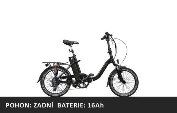 Skládací elektrokolo Agogs Lowstep 2020 černý – pláště 20″ – XL baterie 16Ah