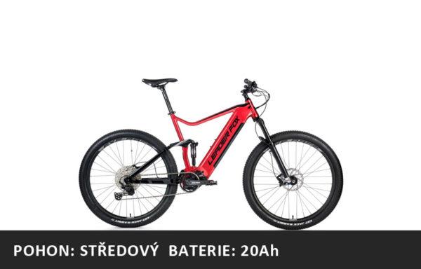Celoodpružené Horské elektrokolo Leader Fox Acron 27,5″ 2021-2 – červená/černá – rám 16″ | 17,5″ | 19,5″ – baterie 20Ah