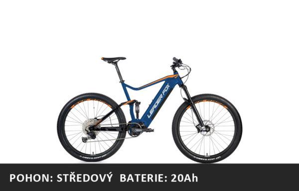 Celoodpružené Horské elektrokolo Leader Fox Acron 27,5″ 2021-3 – tmavě modrá/oranžová – rám 16″ | 17,5″ | 19,5″ – baterie 20Ah