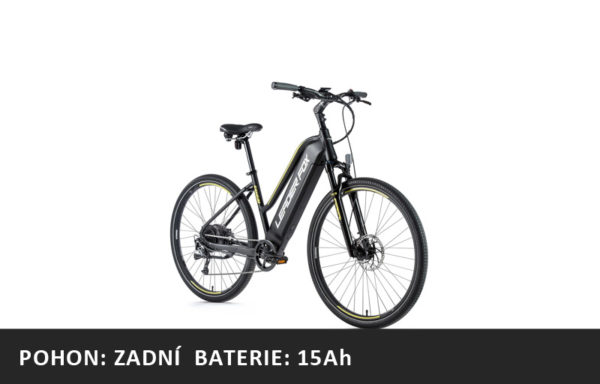 Krosové elektrokolo Leader Fox BARNET dámské 2021-1 – černá mat/žlutá – rám 16,5″ | 18″ | 20″ – baterie 15Ah