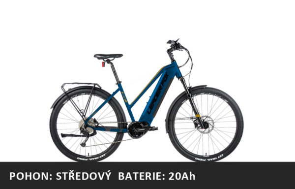 Krosové elektrokolo Leader Fox BEND dámské 2021-1 – tmavě modrá/zlatá – rám 16,5″ | 18″ | 20″ – baterie: 20Ah