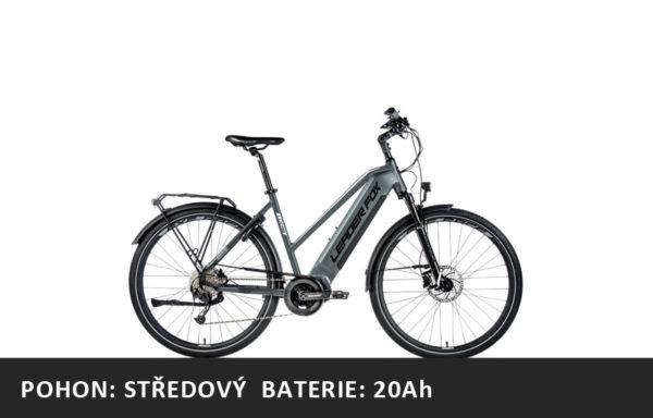 Trekingové elektrokolo Leader Fox LUCAS dámské 2021-1 – šedá/bílá – rám 16,5″ | 18″ | 20″ – baterie 20Ah