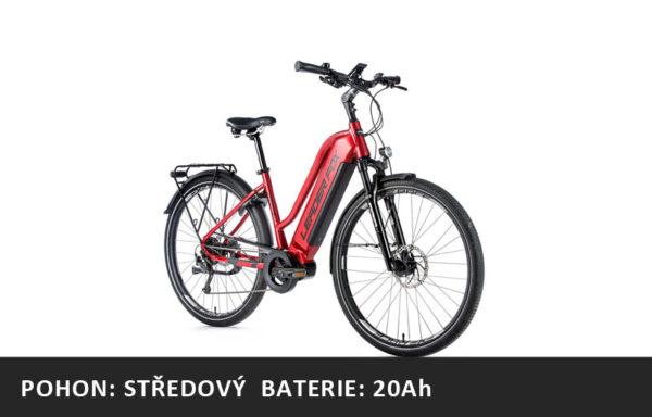 Trekingové elektrokolo Leader Fox LUCAS dámské 2021-2 – červená/černá – rám 16,5″ | 18″ | 20″ – baterie 20Ah