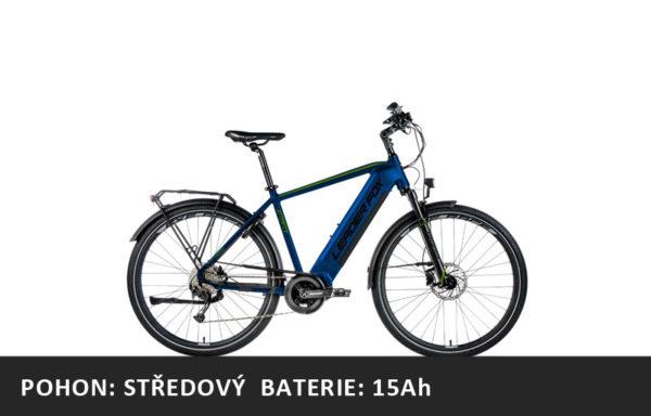 Trekingové elektrokolo Leader Fox DENVER 2021-2 – tmavě modrá/zelená – rám 17,5″ | 19″ | 20,5″ | 22,5″ – baterie 15Ah