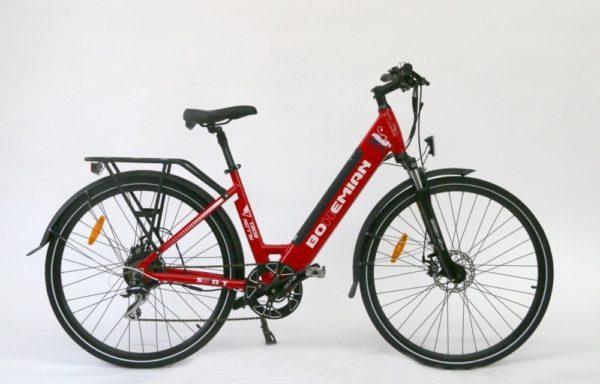 Městské elektrokolo Bohemian Sport (2021) – rám 18″ – ČERVENÁ – baterie 16Ah